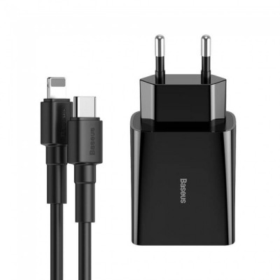 Зарядное устройство (блок и кабель) для iPhone Baseus DZ-HW Speed Mini PD Single Type-C c кабелем Type-C to Lightning (PD, 18W) Black
