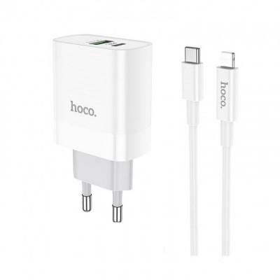 Сетевое зарядное устройство Hoco C80A Rapido PD+QC3.0 charger (с кабелем Type-C to Lightning) White