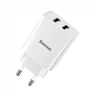 Сетевое зарядное устройство Baseus Speed Mini QC Dual U Quick Charger (QC3.0, 18W, 2USB) White