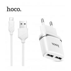 Сетевое зарядное устройство HOCO C12 2USB 2.4A + Кабель Micro Usb White