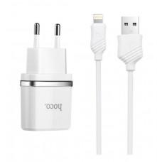 Сетевое зарядное устройство HOCO C12 2USB 2.4A + Кабель Lightning White