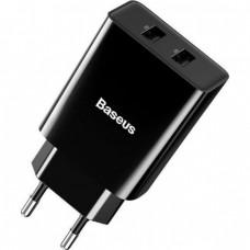 Сетевое зарядное устройство Baseus Speed Mini QC Dual U Quick Charger (QC3.0, 18W, 2USB) Black