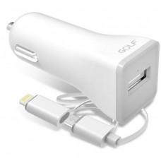 Автомобильное зарядное устройство Golf GF-C3 Car charger + 2 in 1 cable 1USB 2.1A White