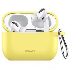 Чехол для Apple Airpods Pro с карабином Usams US-BH568 Silicone Protective Cover Yellow