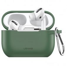 Чехол для Apple Airpods Pro с карабином Usams US-BH568 Silicone Protective Cover Green