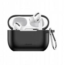 Чехол для Apple Airpods Pro с карабином Usams US-BH568 Silicone Protective Cover Black
