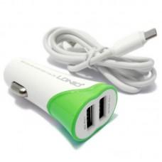Автомобильное зарядное устройство Ldnio C332 + Micro USB Cable (2USB 3.4A) Green