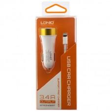 Автомобильное зарядное устройство Ldnio DL-C30 + Lightning USB Cable (3USB 3.4A) White