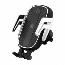Автодержатель с беспроводной зарядкой Usams US-CD100 Automatic Touch Induction (Air Vent) Black-Silver